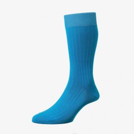 Pantherella Danvers bright turquoise men's socks