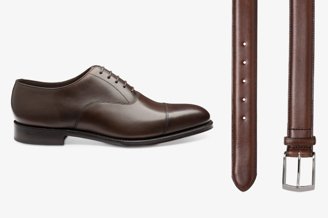 Matching dark brown shoes and belt
