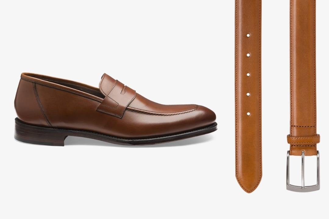 Matching brown shoes and belt