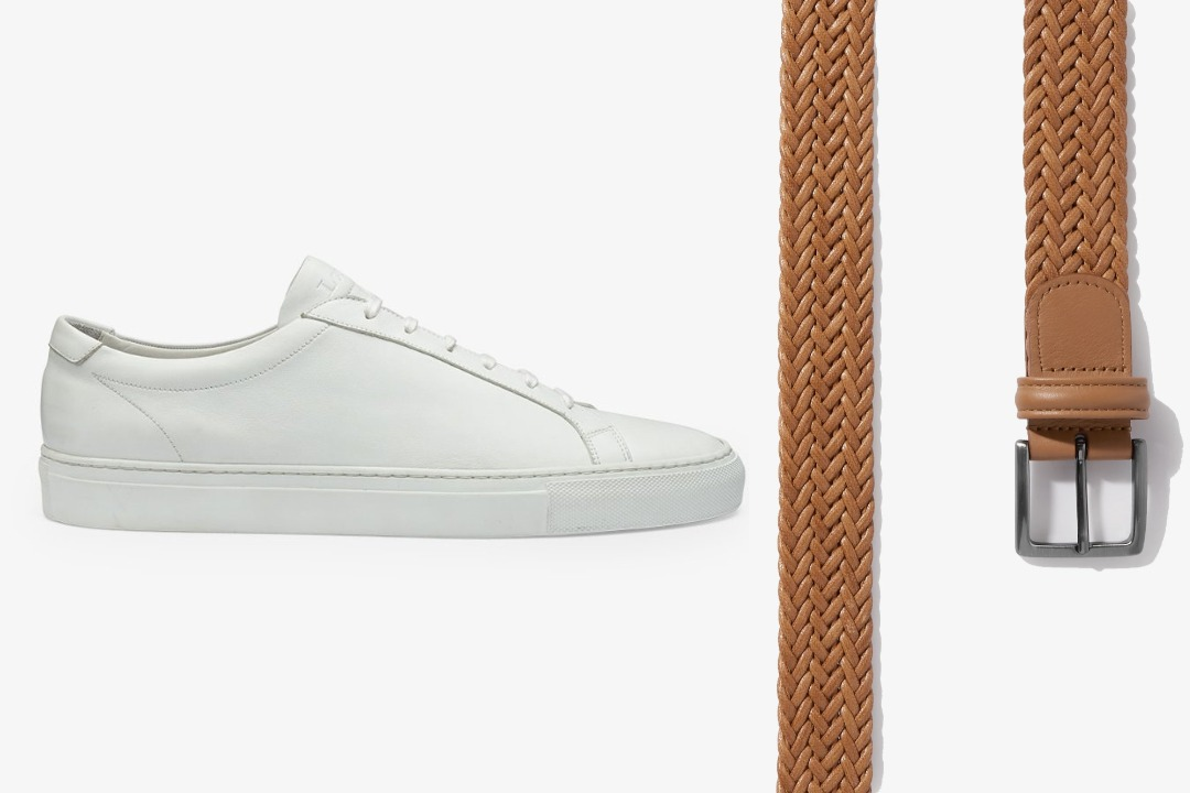 Matching white sneakers and belt