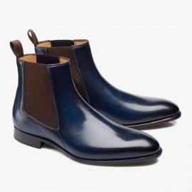 Carlos Santos Daniel 7902 navy Chelsea boots