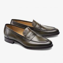 Carlos Santos Elliot 9176 dark green penny loafers