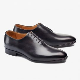 Carlos Santos Francis 6903 black whole-cut oxford shoes