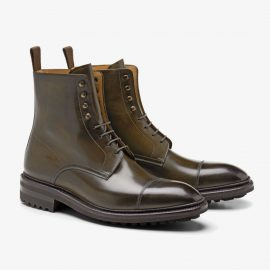 Carlos Santos Stallone 8866 dark green lace up toe cap boots