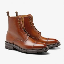 Carlos Santos Stallone 8866 brown lace up toe cap boots