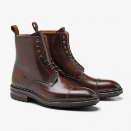 Carlos Santos Stallone 8866 dark brown lace up toe cap boots