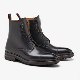 Carlos Santos Stallone 8866 black lace up toe cap boots