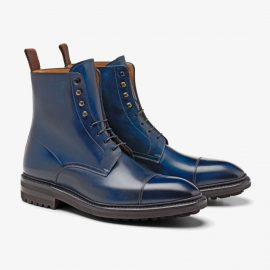 Carlos Santos Stallone 8866 navy lace up toe cap boots