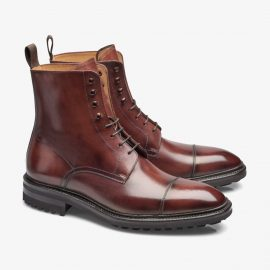 Carlos Santos Stallone 8866 red lace up toe cap boots
