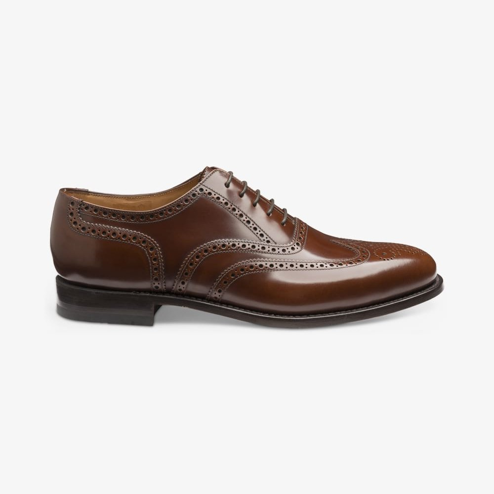 Loake 202 brown polished leather brogue oxford shoes