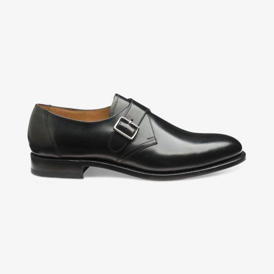Loake 204 polished leather black monk strap shoes