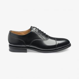 Loake 300 polished leather black toe cap oxford shoes