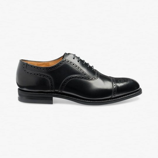 Loake 301 polished leather black brogue oxford shoes