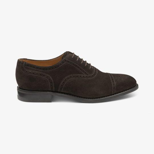 Loake 301 suede dark brown brogue oxford shoes