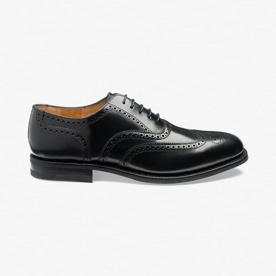 Loake 302 polished leather black brogue oxford shoes