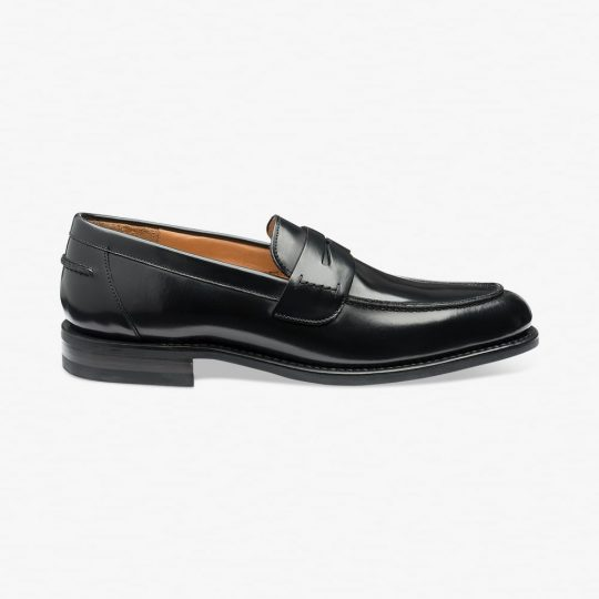 Loake 356 polished leather black penny loafers