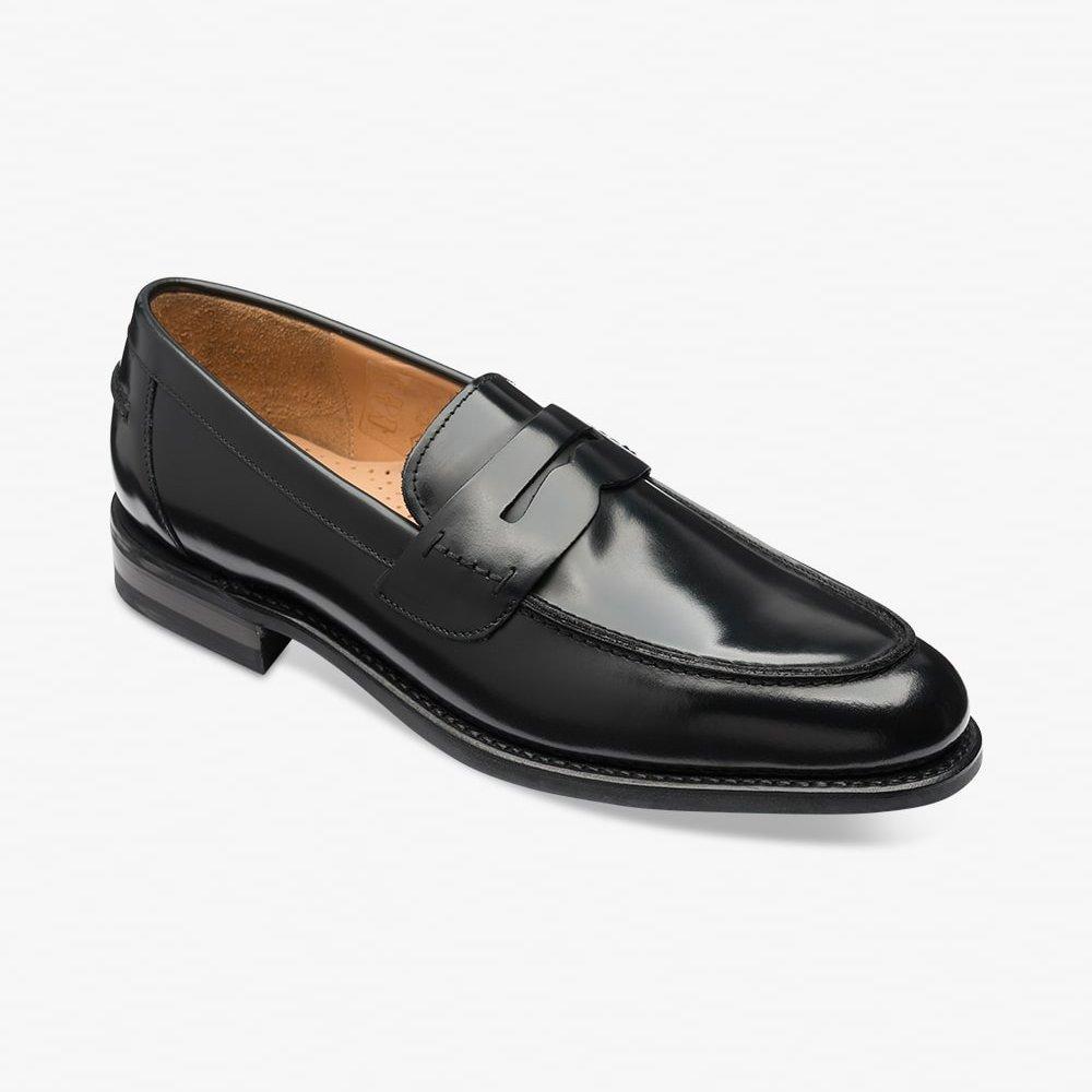 loake tassel loafers black