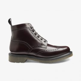 Loake 625 polished leather oxblood brogue boots