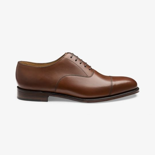 Loake Aldwych mahogany toe cap oxford shoes