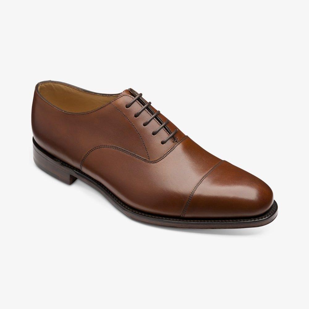 Loake Aldwych mahogany toe cap oxford shoes