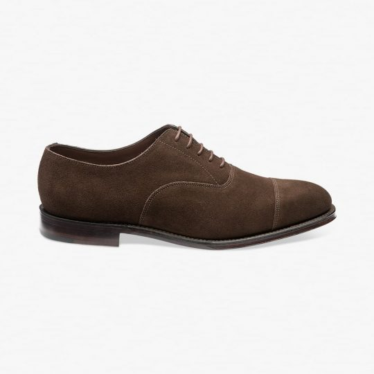 Loake Aldwych suede chocolate brown toe cap oxford shoes