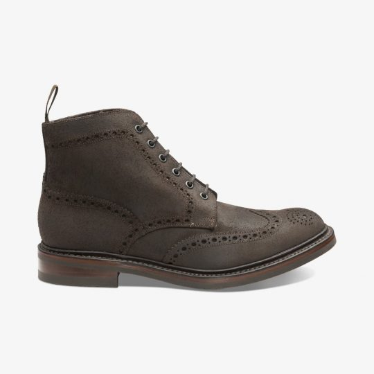 Loake Bedale dark brown waxed suede brogue boots