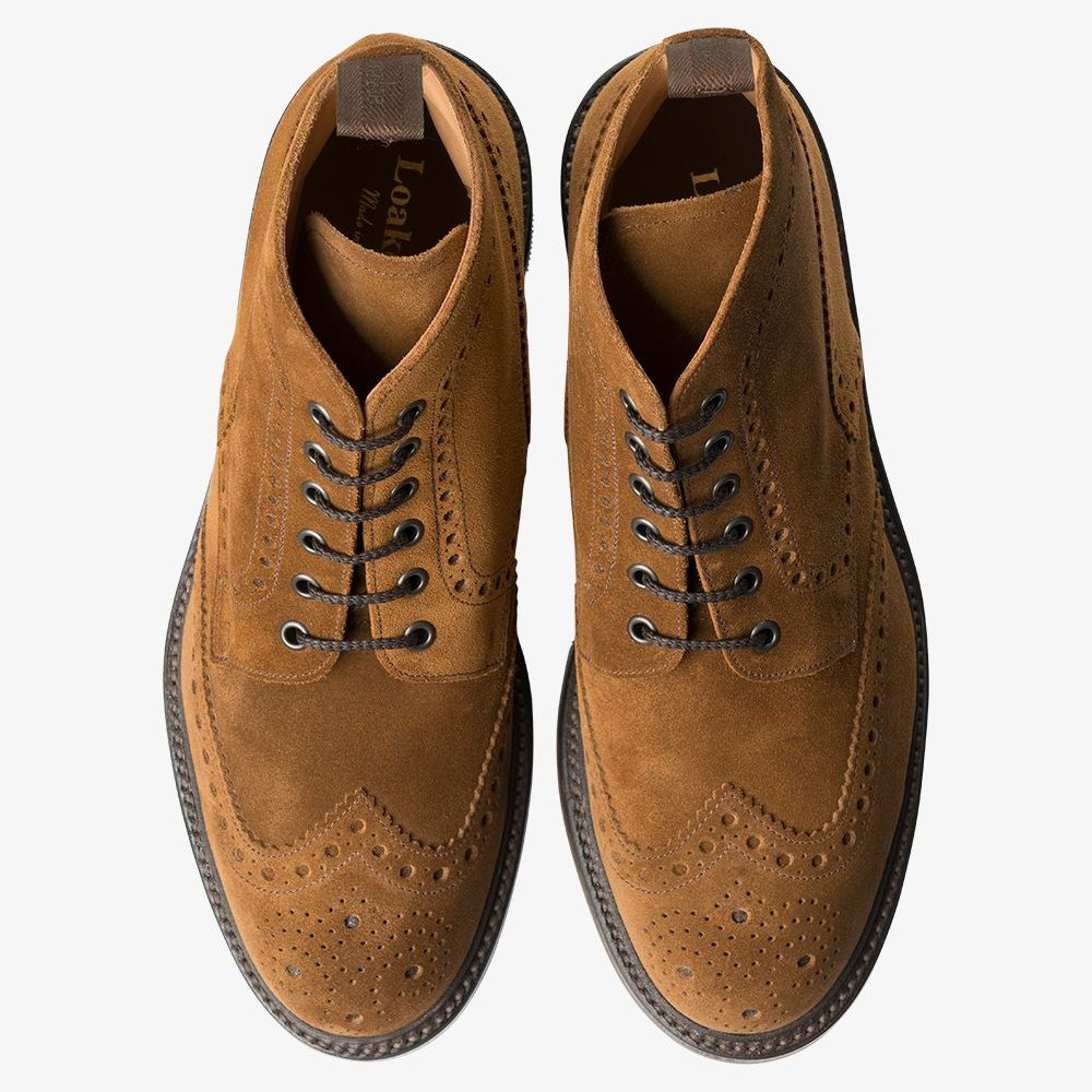 Loake Bedale Suede Lace Up Brogue Boots