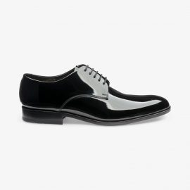 Loake Bow black patent leather tuxedo derby shoes