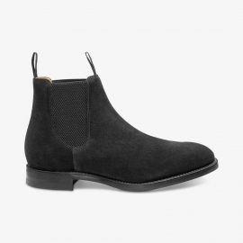 Loake Chatsworth suede black Chelsea boots