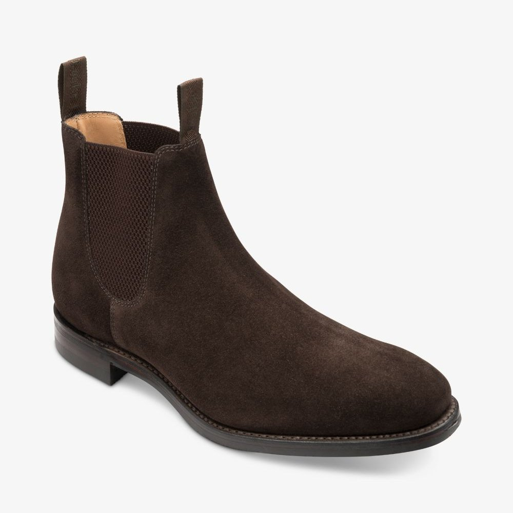 Loake Chatsworth suede dark brown Chelsea boots