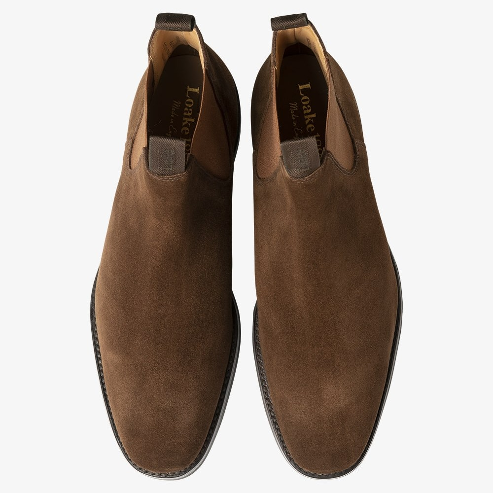 Loake Chatsworth leather suede brown Chelsea boots