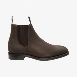 Loake Chatsworth vaxed suede dark brown Chelsea boots