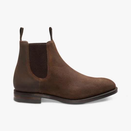 Loake Chatsworth vaxed leather dark brown Chelsea boots