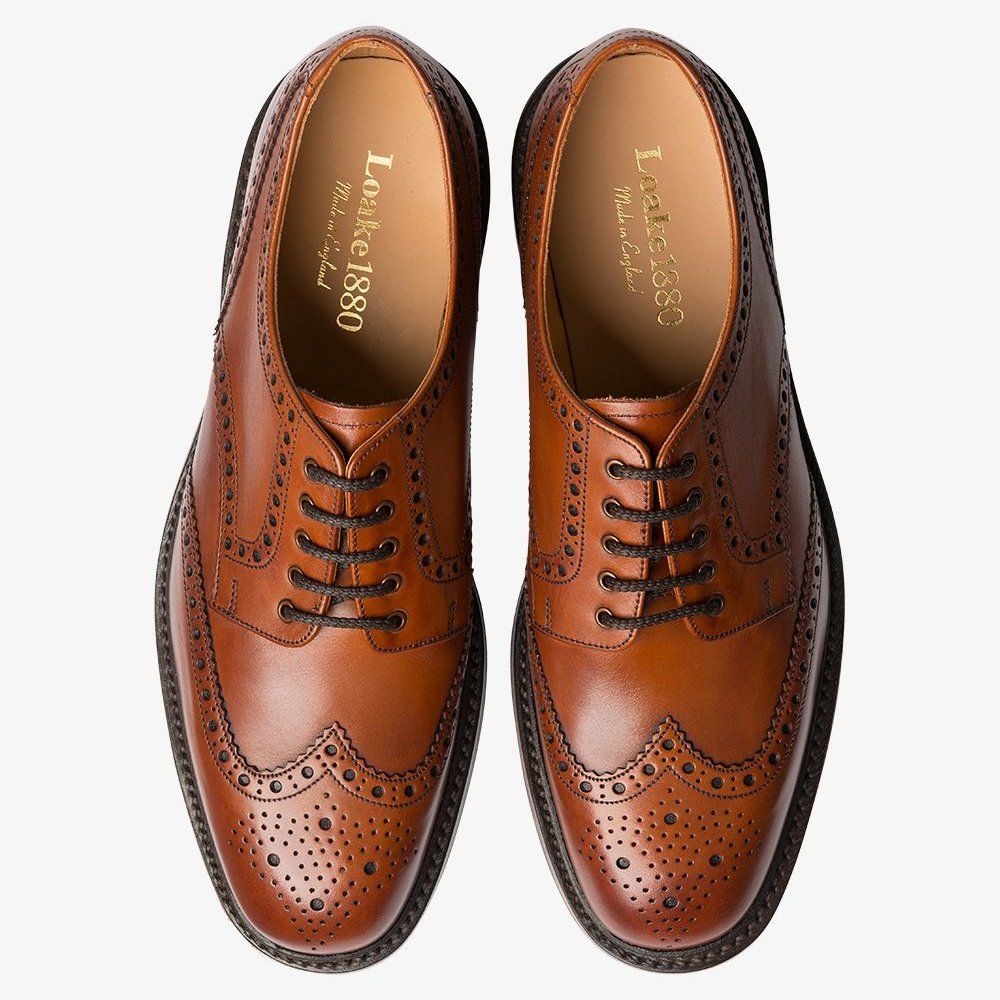 Loake Chester mahogany brogue derby shoes