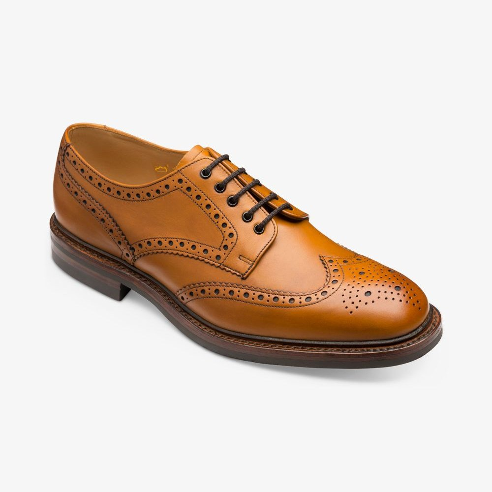 Loake Chester tan brogue derby shoes