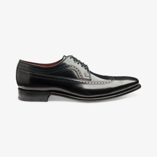 Loake Clint polished leather black brogue derby shoes