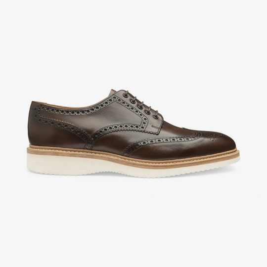 Loake Cobra dark brown brogue derby shoes