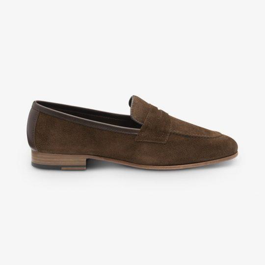 Loake Darwin suede dark brown penny loafers