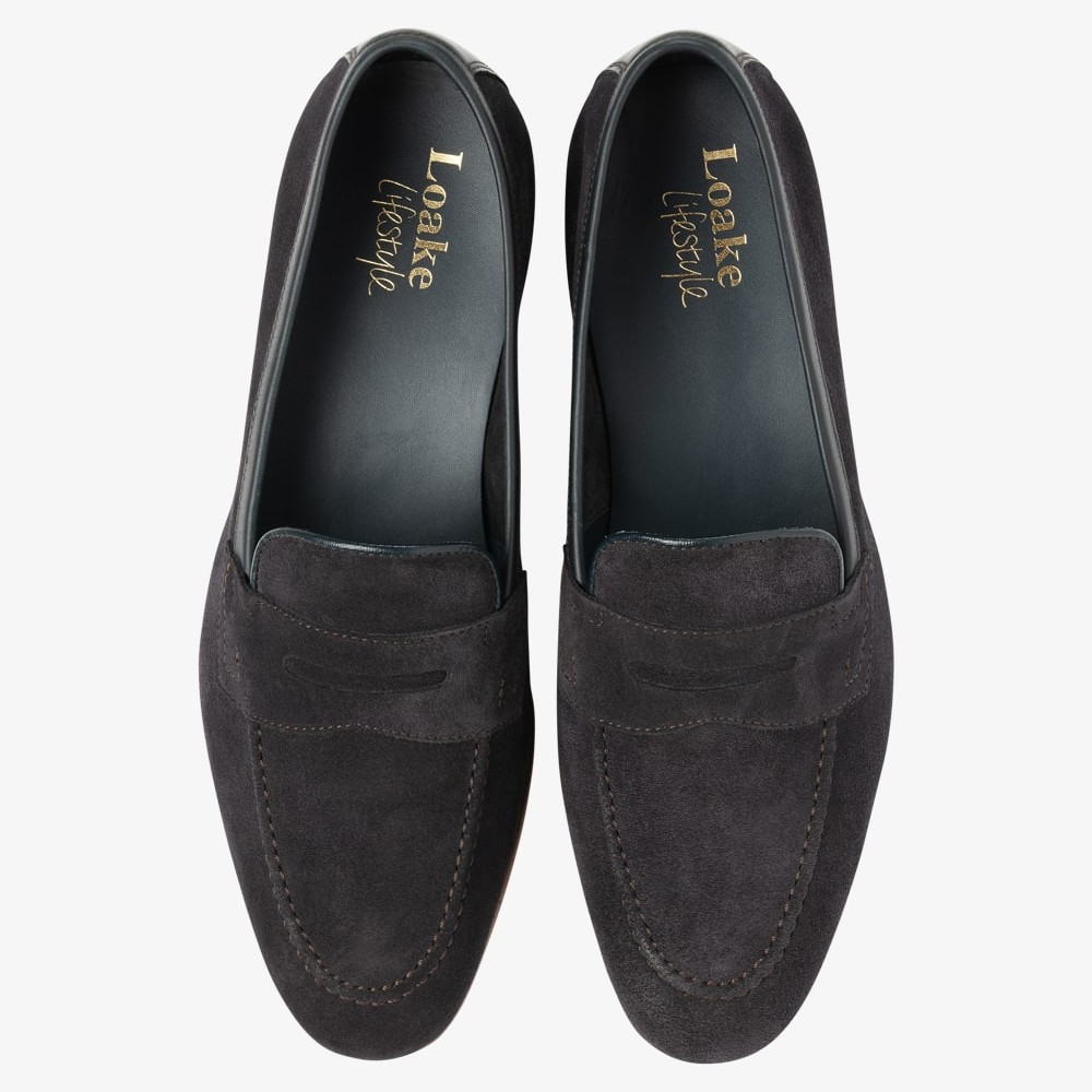 Loake Darwin suede navy penny loafers