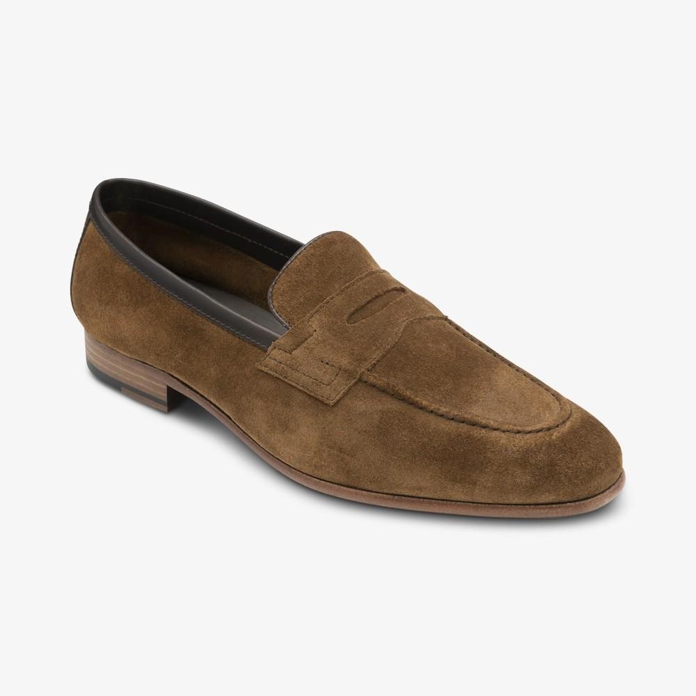 Loake Darwin suede tan penny loafers