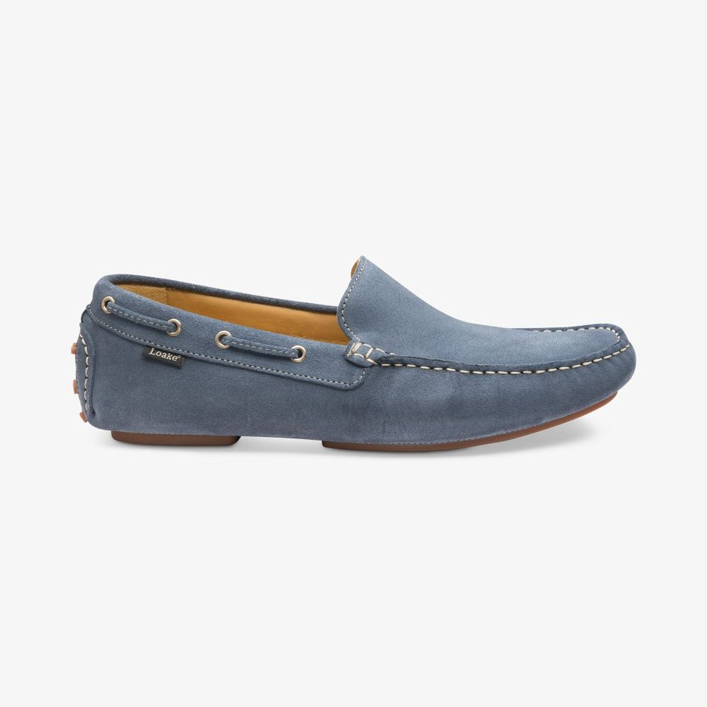 Loake Donington suede light blue driving shoes