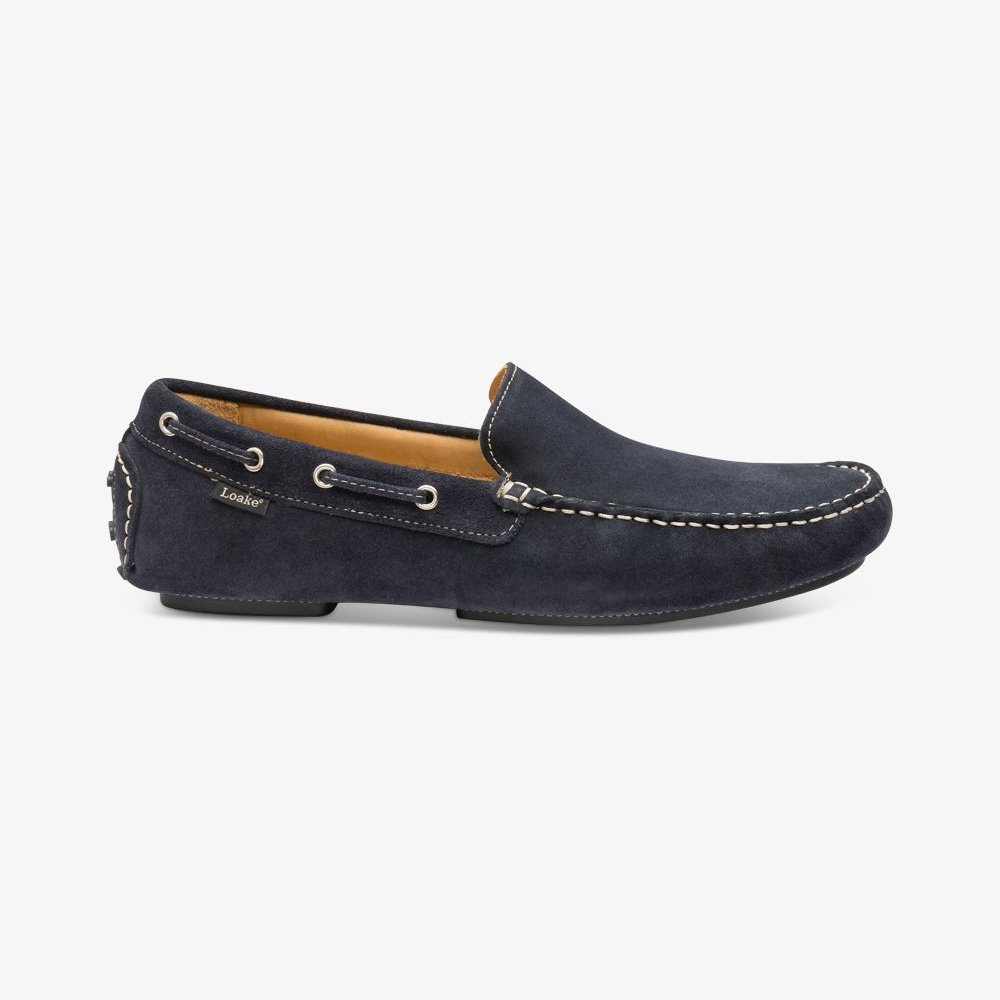 Loake Donington suede navy driving shoes