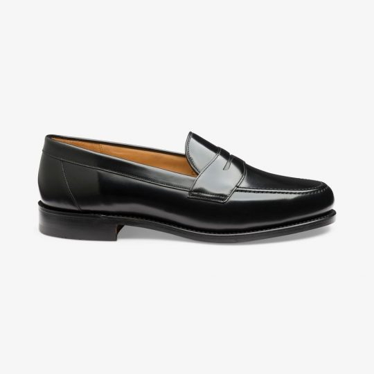 Loake Eton polished leather black penny loafers