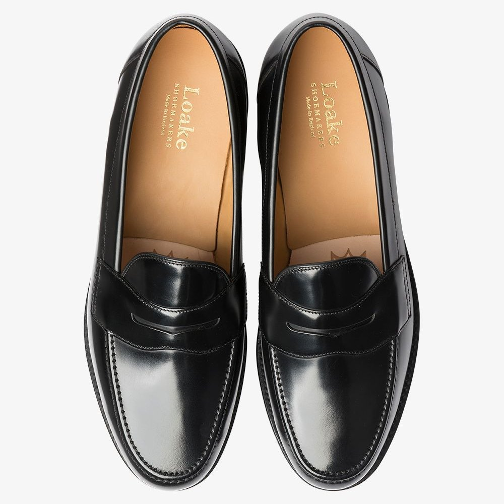 Loake Eton polished leather black penny loafers