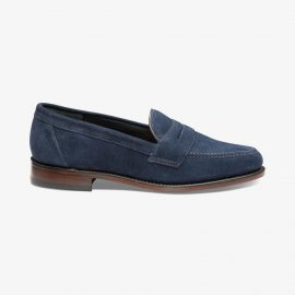Loake Eton navy penny loafers