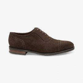Loake Fleet suede dark brown brogue oxford shoes
