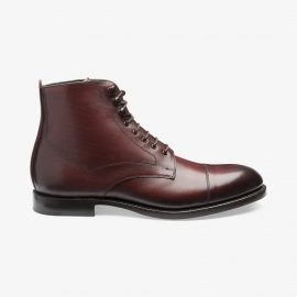 Loake Hirst burgundy lace up toe cap boots