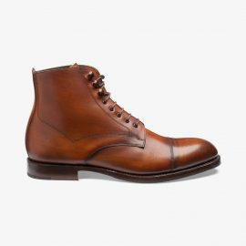 Loake Hirst chestnut lace up toe cap boots