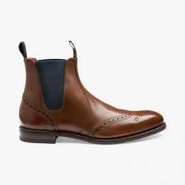 Loake Hoskins brown brogue Chelsea boots