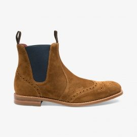 Loake Hoskins suede tan brogue Chelsea boots